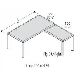 Scrivania direzionale con allungo cm 100 - DX o SX