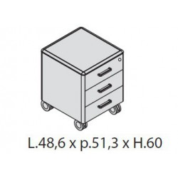 Cassettiera a 3 cassetti su ruote