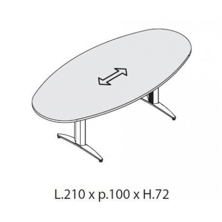 Tavolo riunione Ovale dim. cm 210x100x72h