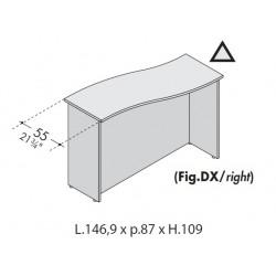 Bancone sagomato per scrivania da cm 140