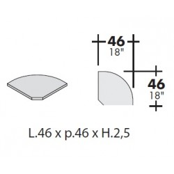 Pianetto per angolo bancone con scrivanie prof cm 80x80