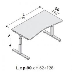 Scrivania sagomata con sistema motorizzato LINEA UP cm 90