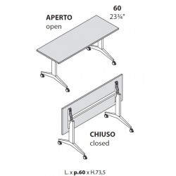 Tavoli con piano ribaltabile prof cm 60 con ruote