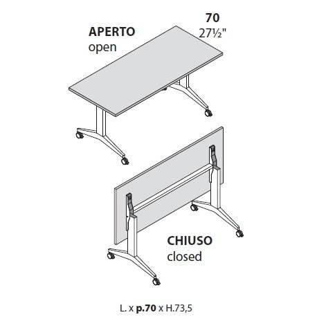 Tavoli con piano ribaltabile prof cm 70 con ruote