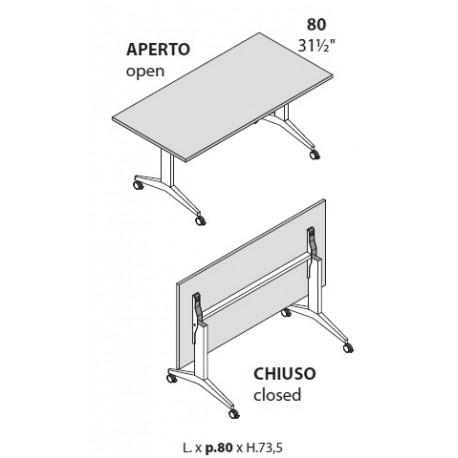 Tavoli con piano ribaltabile prof cm 80 con ruote