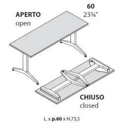 tavolo con gambe pieghevoli prof cm60
