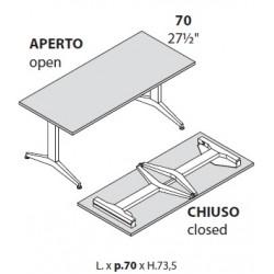 Tavoli con gambe pieghevoli prof cm 70