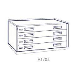 Portadisegni orizzontale a 4 cassetti formato A1 - 115x79x57h