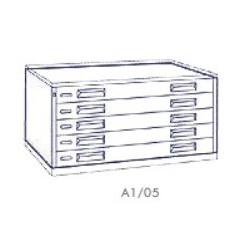 Portadisegni orizzontale a 5 cassetti formato A1 - 115x79x57h