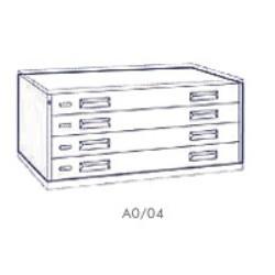 Portadisegni orizzontale a 4 cassetti formato A0 - 137x95x57h