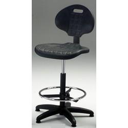 Sgabello con sedile e schienale in poliuretano espanso